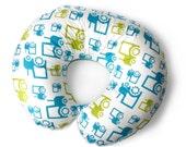 Nursing pillow cover FUN TRACTORS -ORGANIC nursing pillow cover -farm themed nursery -blue nursing pillow cover- breastfeeding pillow cover-