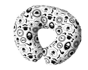 Black boppy cover GENTLEMAN, black and white boppy slipcover, monochrome baby bedding, ORGANIC nursing pillow, modern baby bedding, baby boy