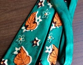 Vintage Men's Silk Neck Tie Tropical Emerald Green Orange Leaves Mid Century by Pilgrim Nice!