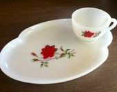 Milk Glass White Hostess set Tray and Tea Cup with Red Rose Adorable Vintage Charm!