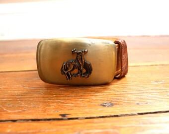 Vintage Fashion... Vintage Tooled Leather Belt with Cowboy Belt Buckle