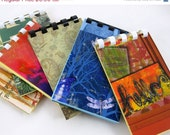 REDUCED Mini Notebooks, Set of 6, Bits and Pieces, Scrapbook Paper, Card Stock, Spiral Binding