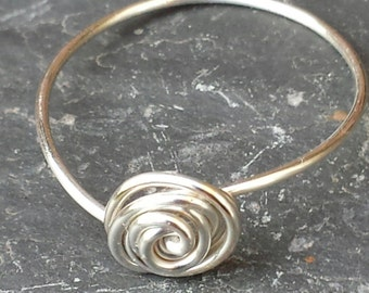Handcrafted Delicate Forefinger Rosebud Swirl Wire Ring, Boho. Minimal Jewellery, Spiritual Jewellery, Small finger ring for ladies