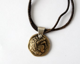 Alexander the Great coin pendant necklace, vintage coin necklace