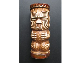1950s Islander Peanut Lined Face Black Tiki Mug, probably by Otagiri, resurfaced for MGM Grand / tumbler