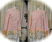 Shabby Pink Blouse, refashioned altered upcycled clothing, shabby shirt lace embellished LARGE - XL