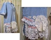 Cotton Denim Shirt, romantic blouse, lacy top, shabby n chic tattered, victorian white lacey womens altered refashioned top XL LARGE