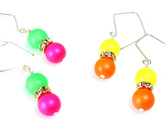 Neon Swarovski Pearl and Crystal Earrings, Choice of Color Combinations, Neon Green and Pink, Neon Orange and Yellow