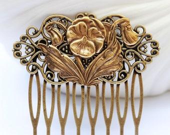Poppy flower Brass Hair Comb, Wedding Bridal Hair Comb.Flowers Collage Hair Comb, Bridal Bridesmaid Comb,Summer,Gift for her