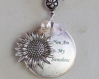 Locket,Sunlfower Locket,Silver locket-You are my sunshine,Bridesmaid Necklace,Wedding Necklace,Valentines Day Necklace