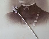 Vintage Sterling Fleur de Lis Stick Pin Bejeweled Hat Pin Coat Pin 1940s