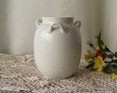 Vintage Vase Three Handle Vase Haviland France Porcelain Circa 1950s Mid-Century Decor