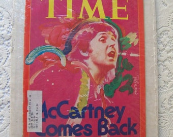 Vintage McCartney Comes Back Time Magazine 1976 Sealed Peter Max Artwork The Beatles Paul McCartney