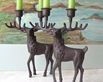 Vintage Candlestick Holder Bronze Stag Reindeer Candelabra Hunting Cabin Fireplace Mantel Fishing Lodge Fine Dining Decor Vintage 1970s