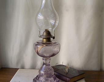 Antique Oil Lamp Purple Glass Table Lamp Berry Fruit Impression Base Sun Purple Glass Oil Lamp Late 1800s