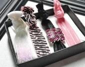 Sassy Zebra Pack of Elastic Hair Ties, Shirt Ties, Wristlette, Gift Pack
