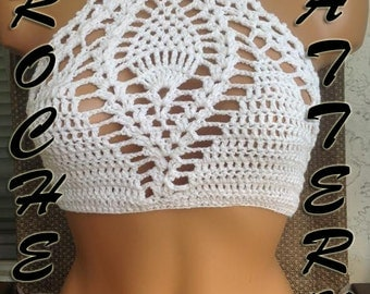Crochet high neck Bikini beachwear Top, hobo, festival Pineapple Pattern instruction Row by Row in PDF Files.