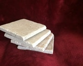 Four (4) Tumbled Natural Stone Absorbant  Travertine Coasters Beige