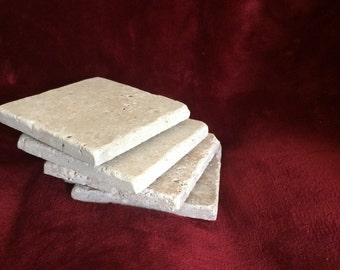 4 Tumbled Natural Stone Absorbant Blank  Travertine Coasters Beige