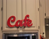 CAFE v2 Kitchen Wall Decor Sign Color of Your Choice Vintage Shabby Chic Style