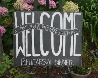 Unframed chalkboard, Personalized chalkboard sign - Bridal Shower, Rehearsal Dinner, Wedding, Birthday, Baby Shower