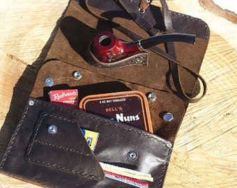 Brown Leather Tobacco Pipe Pouch-Handcrafted from Wild West Leather