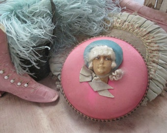 FAB Antique Vintage French Boudoir Flapper Doll Head Pink Silk Chocolate Candy Box