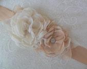 Wedding sash, Floral sash, Champagne sash, Bridal sash,YOUR CHOICE COLOR,Bridal accessory,Chiffon sash,Floral Bridal belt,Wedding dress sash