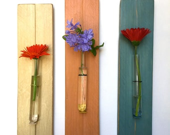 Reclaimed Wood Test Tube Flower Vase. Wall Flower Vase. Ready to Ship
