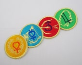 Set of 4 Mini Sailor Senshi crystal emblems Machine Embroidered Iron on OR Sew on Patches