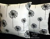 Decorative Throw Pillows, Accent Pillows, Pillow Covers, Cushion Covers, 18 Inch Pillows - Black and White Dandelion - Set of Two 18 Inch