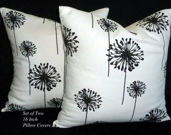 Decorative Throw Pillows, Accent Pillows, Pillow Covers, Cushion Covers, 16 Inch Pillows - Black and White Dandelion - Set of Two 16 Inch