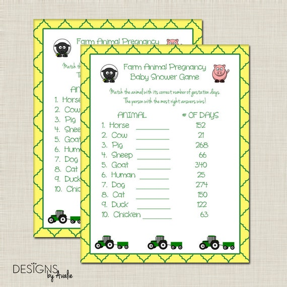 Green And Yellow Farm Animal Pregnancy Baby Shower Game