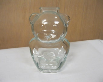 Oh So Cute Babies First Teddy Bear Clear Glass Bank Vintage Collectible Room Decor Invest in Help For Their Future Teaching How To Save