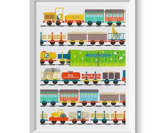 Children's Art Giclée Print Fun Train Illustration