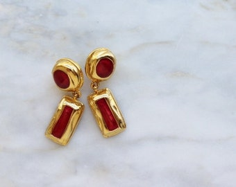 80s - 90s - Hot - Pink - Red - Enamel - 2 - Drop - Gold - Earrings - Dangle - Drop - Pierced