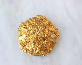 90s - Dominique Aurientis - Grape Vine - Floral - Gold - Massive - Brooch - Round - Circle - 1990s