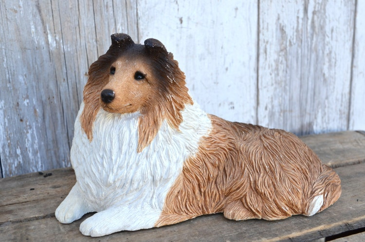 Vintage Sandicast Dog Statue Sheltie Sable Collie By