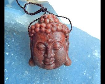 Carved  Amazonite Buddha Head Pendant Bead,25x31x11mm,12.91g