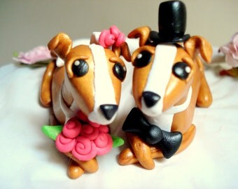 Greyhound Wedding Cake Topper Dog Cake Toppers Italian Greyhound Bride and Groom Wedding Decoration Cake Topper