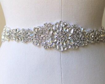 Elegant beaded crystal bridal ribbon sash. Rhinestone applique wedding belt.  JEWEL CRYSTAL