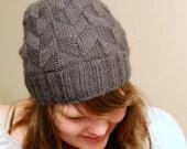 Knitting hat pattern, pdf, beanie, slouch hat, geometry, rhombus, knit