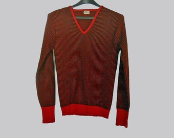 Men's Vintage Rockabilly Wool Sweater - 50s Red & Black V-Neck Pullover