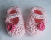 Crochet Baby Mary Jane Shoes - Pink 0-3 Months Size - Ready to Ship - Free Shipping