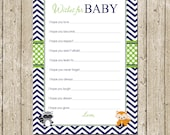 Woodland Wishes for Baby Card, Printable Baby shower wishes with fox and raccoon, Baby Wishes Baby Shower- INSTANT DOWNLOAD
