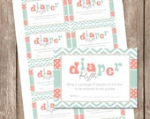 Mint and coral diaper raffle ticket, baby shower, chevron diaper raffle, mint and coral, baby shower, girl shower mc1 INSTANT DOWNLOAD
