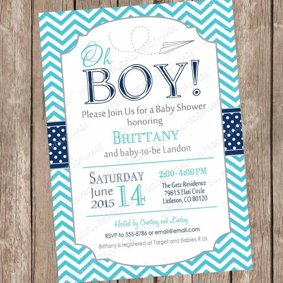 Paper airplane baby shower invitation navy and teal baby shower