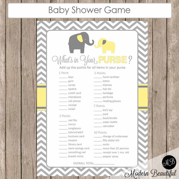 what 39 s in your purse baby shower game yellow and grey baby shower