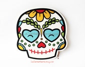 Sugar skull sticker, one flower sugar skull waterproof/uv resistant vinyl sticker