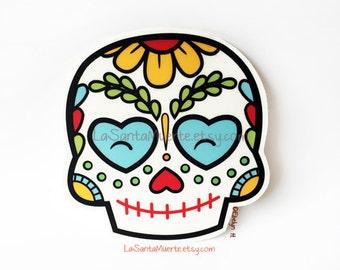 Sugar skull sticker, one flower sugar skull waterproof/uv resistant vinyl sticker